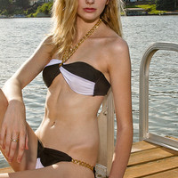 Sexy Black White Gold Chain Bikini