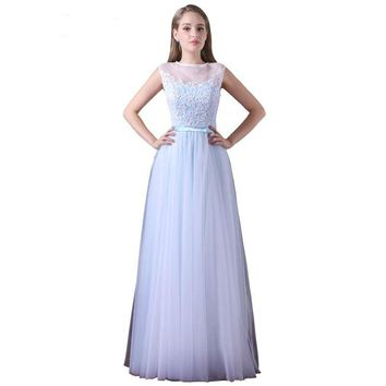 Light Blue Lace Dress Elegant Bow Lace Appliques Long Evening Dress Sleeveless Dresses