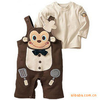 Spring baby  boy girl clothing sets  monkey pant+ shirt 2 pcs suit kids children clothes child outfit baby set
