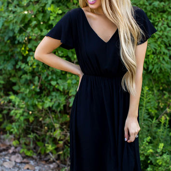 Short Sleeve V Dress- Black
