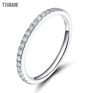 Tigrade 925 Sterling Silver Rings Women Wedding Band Engagement Cubic Zirconia Ring Fashion Beautiful Simple Statement Jewelry