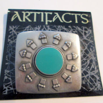 Vintage JJ Jonette Jewelry  Brooch Pin -turquoise stone southwest -  Made in the USA - JJ new old stock - Artifacts 1986