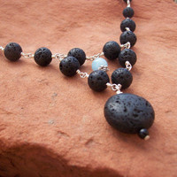 Black Polished Lava Stone on Hand Looped Silver Plated Wire With Aquamarine Gemstone Necklace - OOAK Natural Nature Inspired Jewelry