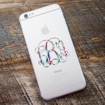 Monogrammed Lilly Pulitzer iPhone Decal Sticker