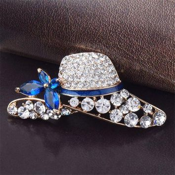 PEAP78W Hot Sale Simple Atmosphere Hat Shape Rhinestone Brooch For Women Party Jewelry Accessories