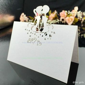 100pcs/set Hollow Lovers Wedding Invitations, Laser Table Name Card,