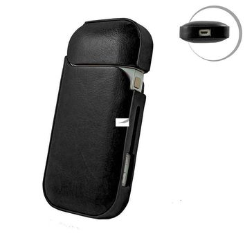 IQOS Electronic Cigarette Case,Holder Portable Premium PU Leather &PC Cover Impact, Dust, Scratch Anti-Slip Proof Professional Travel Carry Shell Cover Pouch for E-Cigarette Kit (Black)