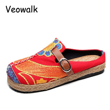 Veowalk Extreme Low Top Women Casual Linen Cotton Loafers Handmade Vintage Ladies Canvas Walking Hemp Flat Shoes Zapato Mujer