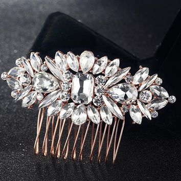 Blucome Crystal Hair Combs Accessories Perfect Flower Hairpins Tiara Rhinestone Crystal Head Jewelry for Gifts hair Combs Bijoux