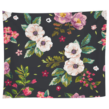 Dark Flowers Tapestry