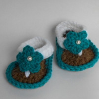 Crochet Baby Girl Flip Flops With double sole. Turquoise. Brown. White
