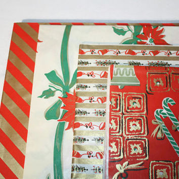 Vintage Christmas Wrapping Paper Lot, Mid Century Mod Holiday Gift Wrap