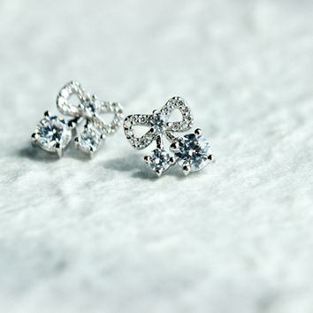 Sweet zircon bowtie 925 sterling silver earrings,a perfect gift