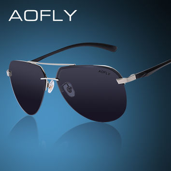 AOFLY Polarized Sunglasses Men Original Brand HD Polaroid Lens Reflective Coating Driving Sunglasses Vintage Male Google Eyewear