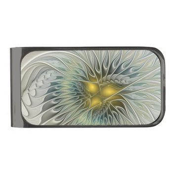 Golden Flower Fantasy, abstract Fractal Art Gunmetal Finish Money Clip