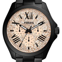 Women's Fossil 'Cecile' Pave Dial Multifunction Bracelet Watch, 40mm - Black/ Rose