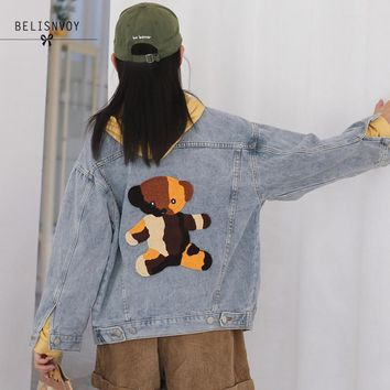 Trendy Women Denim Jacket 2018 Autumn Winter Fashion Chic Embroidery Bear Ulzzang Female Casual Loose Boyfriend Basic Outwear Coat AT_94_13
