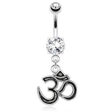 Om Enameled and Outlined Dangle Belly Button Ring 14g Navel Ring
