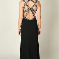 Long Dress with Decorative Sequin Open Back and Side Slit