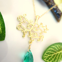 Emerald green quartz gold tree of life necklace, green botanical tree necklace, peacock green tree of life