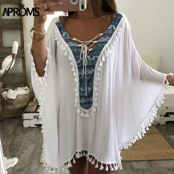 Aproms Enthnic Print Tassel Beach Plus Size Blouses Women Boho V Neck Lace up  White Tunic Top Bikini Cover Kimono Shirt Blusas