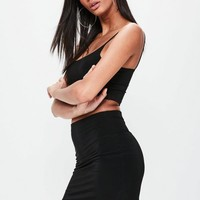 Missguided - Black Slinky Mini Skirt