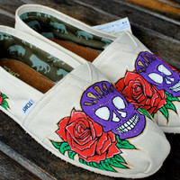 Dia De Los Muertos Sugar Skulls and Roses TOMS by BStreetShoes