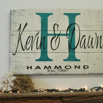 Initial Sign Name Sign Pallet Sign Personalized Custom Sign Wedding Gift Bridal Shower Gift Housewarming Gift Anniversary Gift Shabby Chic