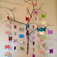 Paper Butterflies on a Branch, origami mobile, origami wall art, office art, paper sculpture, feng shui home decor, baby decor, eclectic
