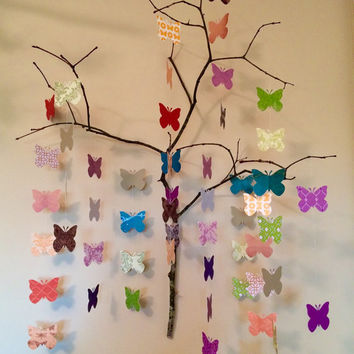 Paper Butterflies On A Branch Origami Mobile Wall Art