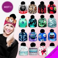 Novelty 2017 3D Floral Print Women Hats Autumn and Winter Cap Multi Colors Unisex Casual Hat Ball Pom Skully Beanies PY214
