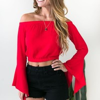 Let's Go Flutter Sleeve Top in Red