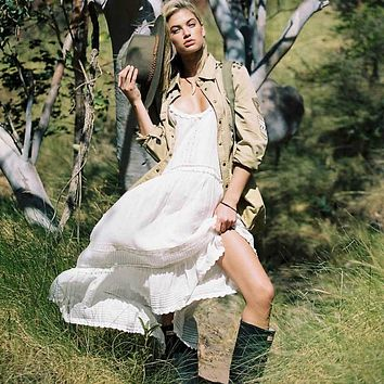 Boho Inspired white cotton Midi Dress strappy casual summer dresses Lined lace trims gypsy women dresses CHIC tunic beach dress