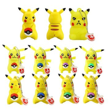 New arrive cartoon pen drive  Pikachu gift pen drive 8gb 16gb 32gb 64gb keychain cartoon Pikachu usb flash drive pendriveKawaii Pokemon go  AT_89_9