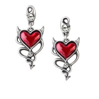Alchemy Gothic Devil Red Heart Earrings with Horns & Tail