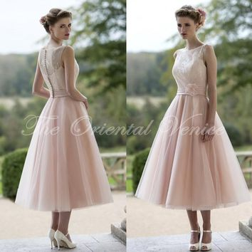 2017 Blush Pink Lace Bridesmaid Dresses Short Tea Length Bride Maid of Honor Gowns Wedding Guests Party Dress Vestido Madrinha