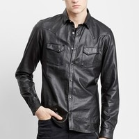 Men's The Kooples Trim Fit Leather Western Shirt