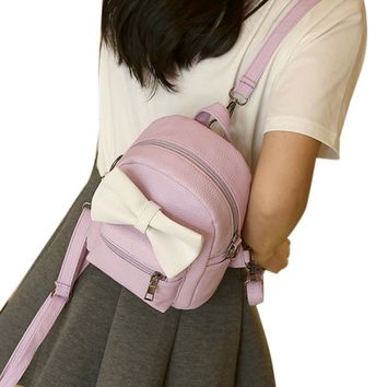Purple Bow Accented Small Backpack