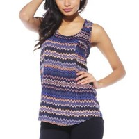 AX Paris Drop Back Tribal Blue Vest(Navy, Size:6)