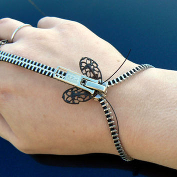 Steampunk Bracelet - Zipper Bracelet - Zip-On Bracelet - Handflower Bracelet