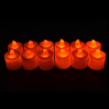 Candles Tealight Led Tea Light Flameless Flickering Wedding Battery Includ HU