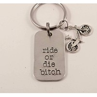 """Ride or die bitch"" Hand Stamped Keychain - Great gift for the biking enthusiast"