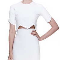 Embossed Crop Top, White