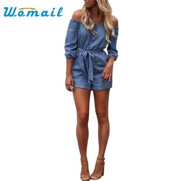 ESBONHS Womail Fashion 2017 Sexy Women Off Shoulder Playsuit Casual Vintage Short Rompers Womens Jeans Jumpsuit S-XL #20 Gift 1pc