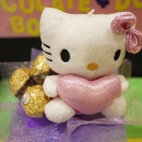 Hello Kitty mini flower bouquet with Ferrero Rocher Chocolates. Perfect Valentine's day gift for her!
