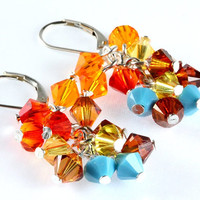 Sonoran Blend Swarovski Crystal Earrings, Cluster, Southwest Colors, Sterling Silver