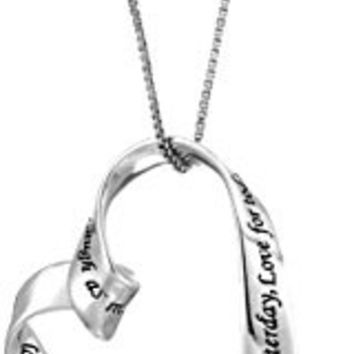 "Sterling Silver ""Learn From Yesterday, Love for Today, Hope for Tomorrow, Laugh As Much As You Breathe, Love As Long As You Live. Live Laugh Love"" Pendant Necklace, 18"""