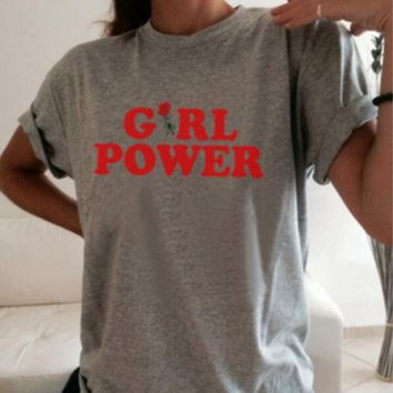 "Summer ""GIRL POWER"" Letter Print Short Sleeve T-Shirt Casual Loose Top Grey"