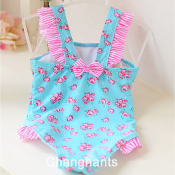 cute baby girls swimwear girl one piece light blue with little flower pattern 2-4Y swimsuit kid/children swimming Suit sw0603