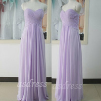 Lilac Sweetheart Chiffon Simple Bridesmaid Evening Dress, Custome Turquoise Prom Dress, sweetheart Floor-length cheap Bridesmaid Dress,